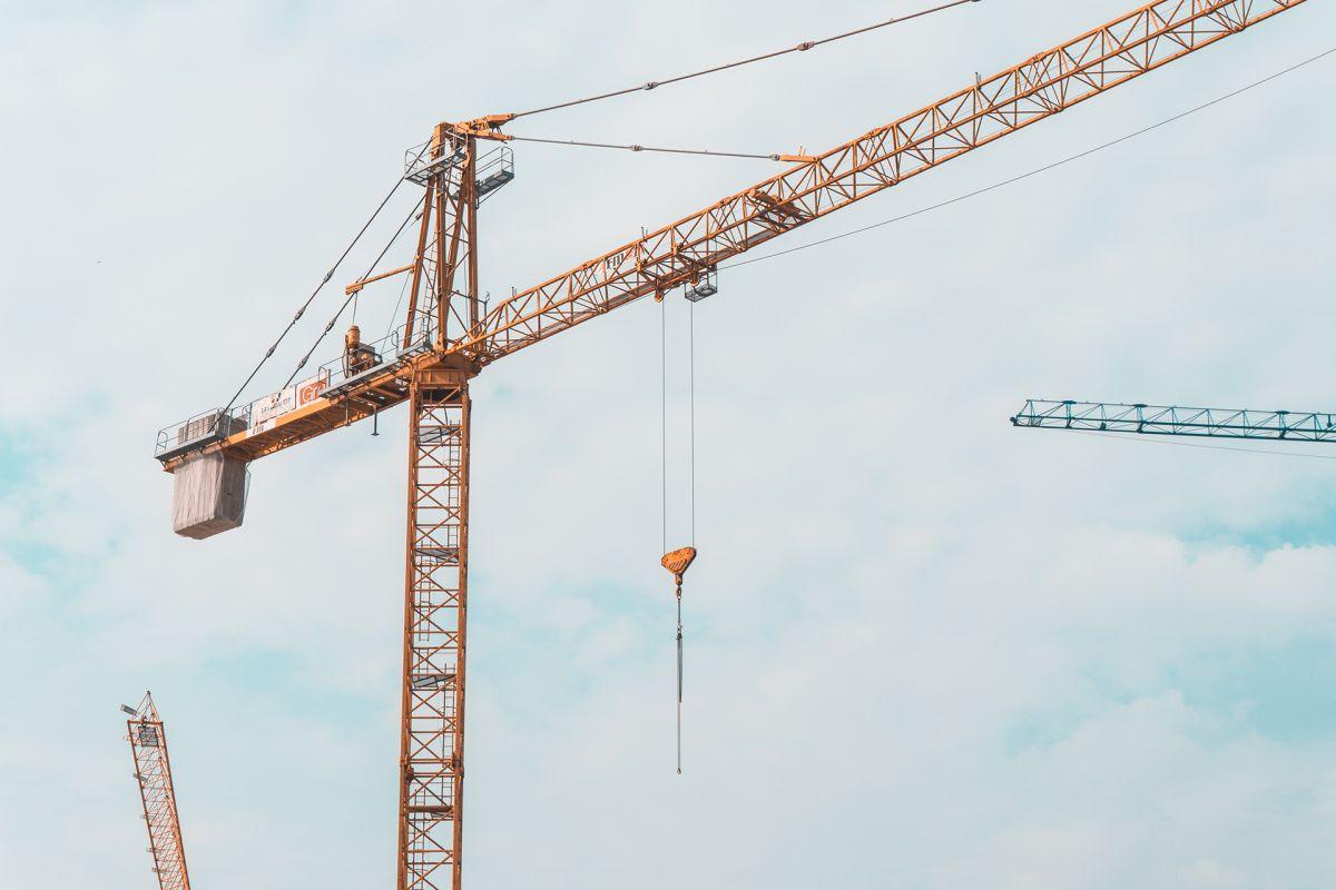 Crane against clouds